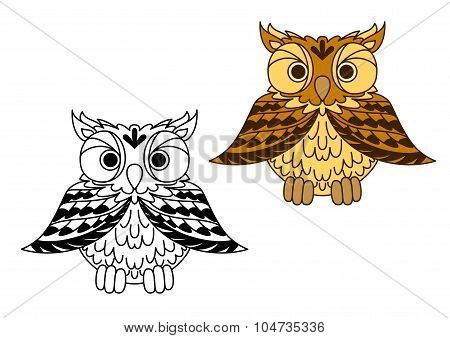Cute little cartoon owl with outspread wings
