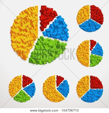 Vector set of pie charts made of piles of constructor blocks. Different ratios and colors
