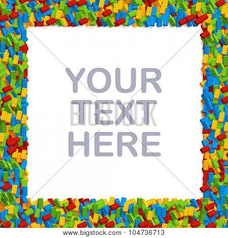 Vector square frame made of thousands of plastic bricks. Ready for your text or artwork.