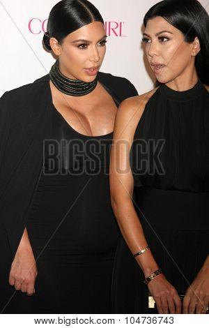 LOS ANGELES - OCT 12:  Kim Kardashian West, Kourtney Kardashian at the Cosmopolitan Magazine's 50th Anniversary Party at the Ysabel on October 12, 2015 in Los Angeles, CA