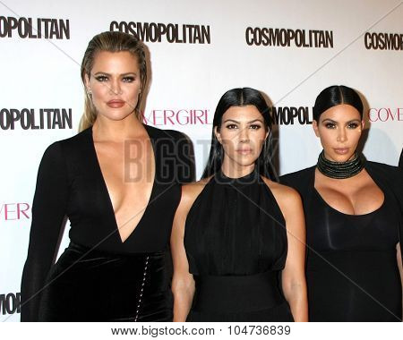 LOS ANGELES - OCT 12:  Khloe Karsahian, Kourtney Kardashian, Kim Kardashian West at the Cosmopolitan Magazine's 50th Anniversary Party at the Ysabel on October 12, 2015 in Los Angeles, CA