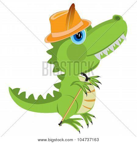 Cartoon Of The Dinosaur In Hat