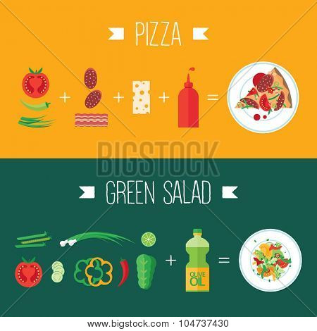 Colorful vector banner. Green salad & pizza. Quality design illustration, elements and concept. Flat style