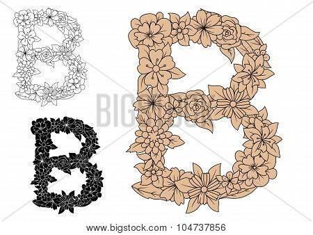 Letter B in an intricate floral design