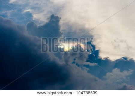 Rainbow Clouds With Cloudy Sky Near Sunset Time