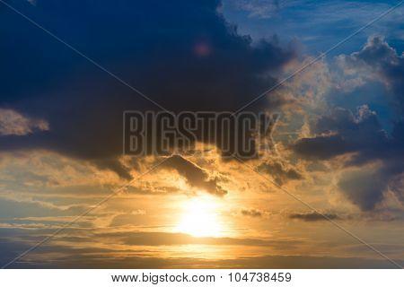 Sunset Golden Sunlight Blue Orange And Yellow Tone Dusk Sky