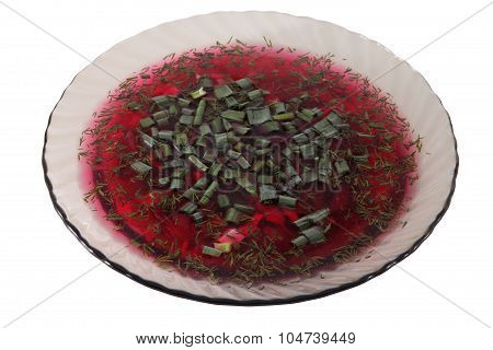Plate Translucent Glass, Cold Beetroot Soup, Decorated Chopped Green Onion.