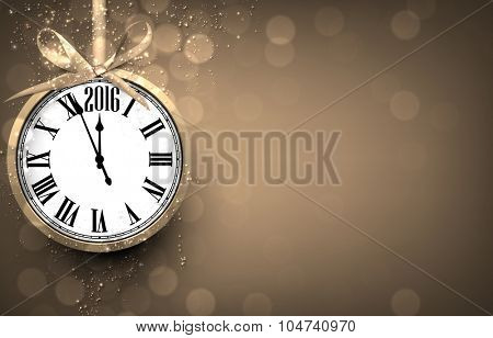 2016 New year golden background with vintage clock. Vector illustration with place for text.