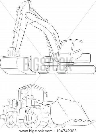 Bulldozer & Excavator Vector Line Art