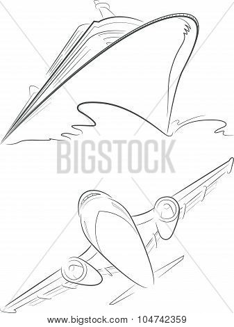 Cruise Ship & Airplane Vector Sketch