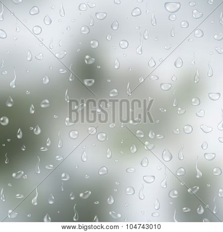 Realistic transparent water drops on light grey glass background. Vector eps10 illustration