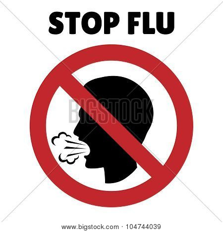 Stop flu sign. Coughing man in prohibition frame