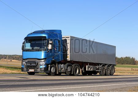 Blue Renault Trucks T On The Road
