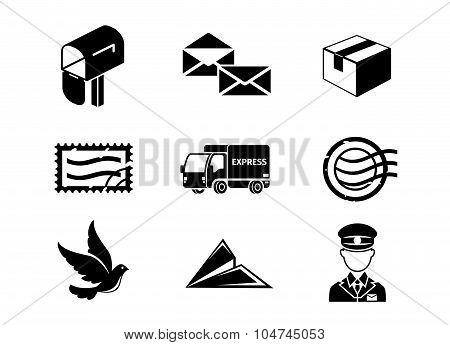 Post service vector black icon set