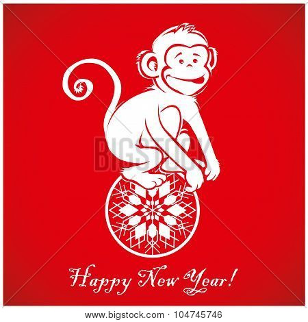 Funny Monkey On Bright Red Background 3