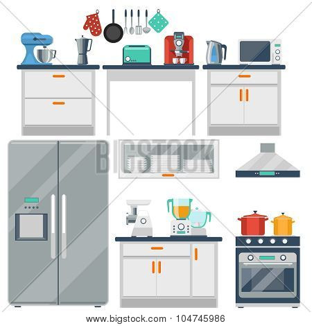 Flat vector kitchen with cooking tools, equipment and furniture