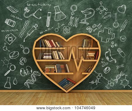 Concept Of Training. Wooden Bookshelf Full Of Books In Form Of Heart On The Blackboard Background Wi