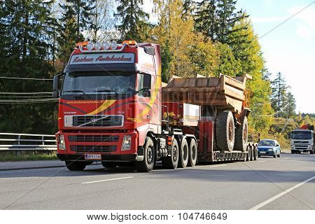 Volvo Truck Hauls Construction Machinery As Wide Load