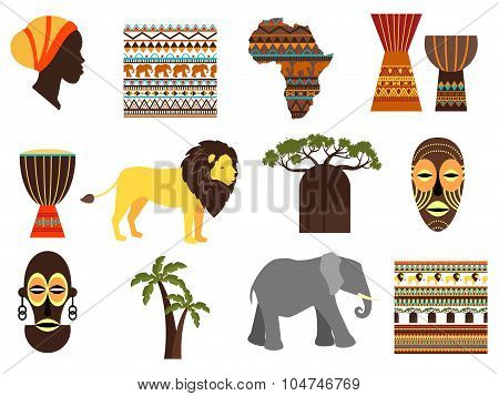 Africa safari vector emblems and flat icons