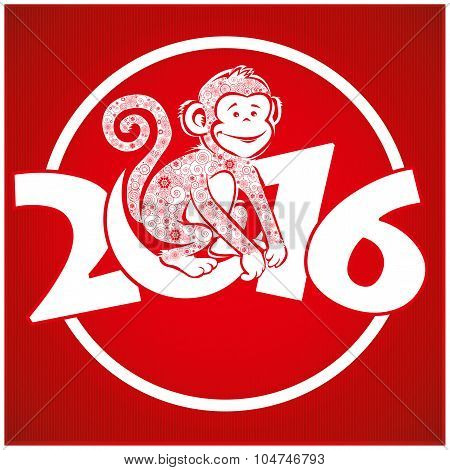 Funny Monkey On Bright Red Background 4