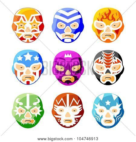 Lucha libre, luchador mexican wrestling masks color vector icons