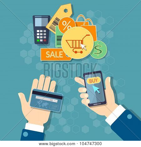 Online Shopping E-commerce Concept Mobile Shopping Man Holding Smart Phone Credit Cards Vector Set