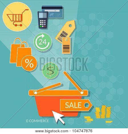 Online Shopping Concept Internet Shop Web Market Online Store Basket Sale Labels Set