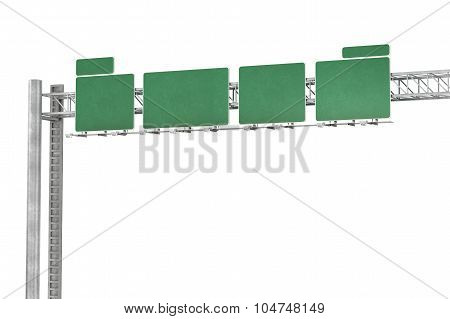 Green Road Signs Isolated On White Background