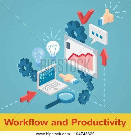Workflow and productivity illustration in minimal isometric flat style