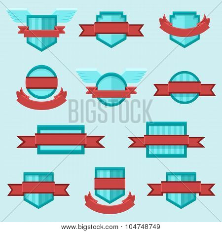 Vector set of crests insignia badges icons with ribbons