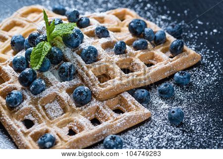 Homemade Waffles With Blueberries