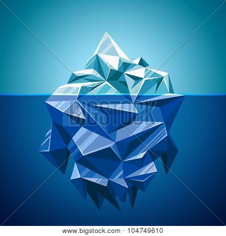 Snow vector iceberg mountain in polygonal style