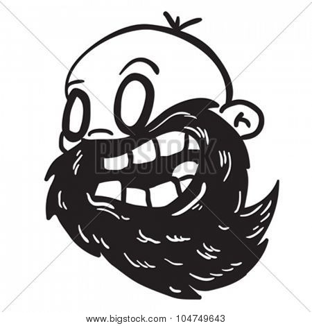 simple black and white bearded bald man cartoon