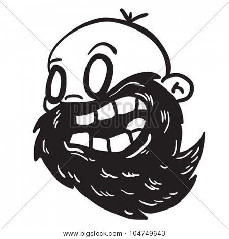 simple black and white bearded bald man cartoon