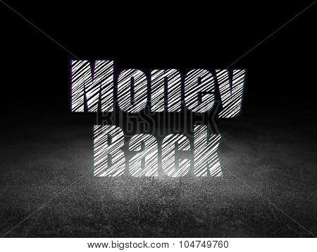 Finance concept: Money Back in grunge dark room