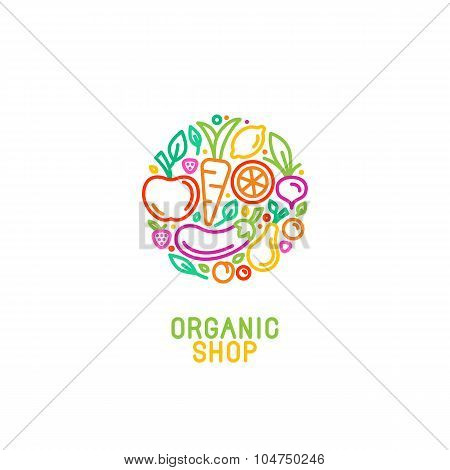 Vector Logo Design Template With Fruit And Vegetable Icons