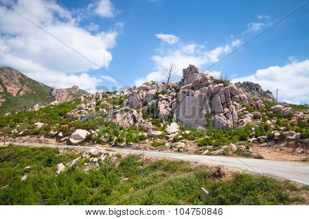 Landscape Of South Corsica With Mountain Road