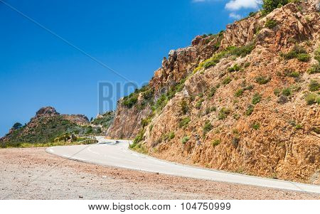 South Corsica Landscape, Turning Mountain Road