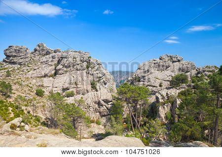 Wild Mountain Landscape, Rocks Under Blue Sky