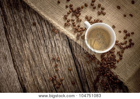 Top View Of Freshly Brewed Cup Of Delicious Coffee