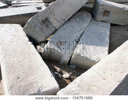 Large Concrete Building Blocks Closeup