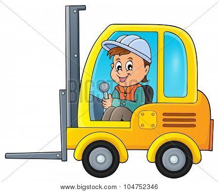 Fork lift truck theme image 2 - eps10 vector illustration.