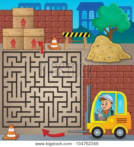 Maze 3 with fork lift truck theme - eps10 vector illustration.