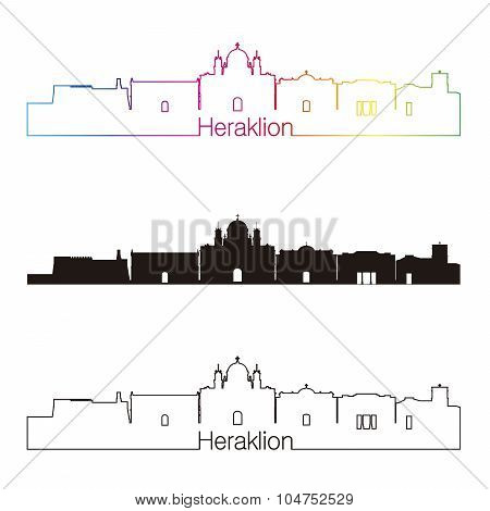Heraklion Skyline Linear Style With Rainbow