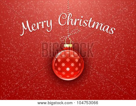 Christmas bauble on red background with snowflakes. Merry Christmas. Christmas card