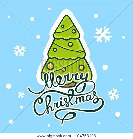 Vector Illustration Of Green Christmas Tree With Hand Written Text On Blue Background With Snowflake