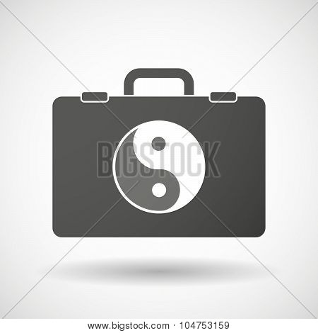 Isolated Briefcase Icon With A Ying Yang