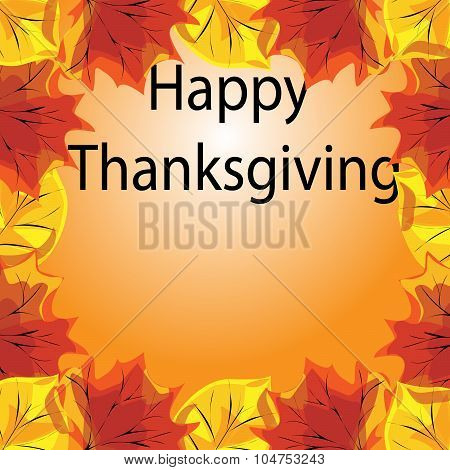 Happy Thanksgiving Autumn Background With Leaves