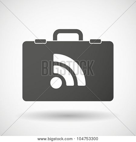 Isolated Briefcase Icon With An Rss Sign
