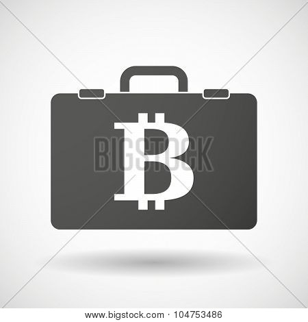 Isolated Briefcase Icon With A Bit Coin Sign